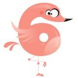Flamingo cor-de-rosa engraçado dos desenhos animados do número 6 Fotos de Stock