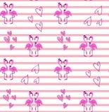 Flamingo couple pattern on stripes Stock Photo