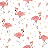 Flamingo crown seamless pattern template. Pink flamingo for girls party, girly design, vector