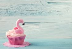 Flamingo cup cake stock photo