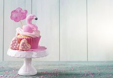 Flamingo cup cake Royalty Free Stock Images