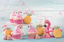 Flamingo cup cakes stock photo