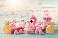 Flamingo cup cakes Royalty Free Stock Images