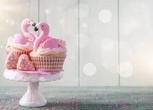 Flamingo cup cakes stock photos