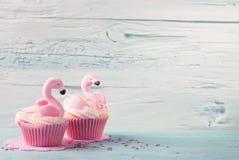 Flamingo cup cakes Royalty Free Stock Photos