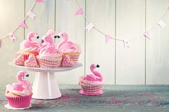 Flamingo cup cakes. For party stock photos