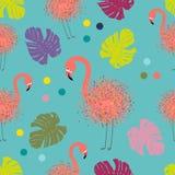 Flamingo da colagem da arte moderna, teste padrão sem emenda com folhas de palmeira tropicais e flamingos, pontos de tiragem pela ilustração royalty free