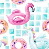 Flamingo da cor de água, flutuador da associação do unicórnio, lilo da filhós do anel que flutua na piscina azul ilustração do vetor