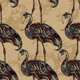 Flamingo decorated with floral ornaments on grunge background. Royalty Free Stock Images