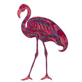 Flamingo decorated with oriental ornaments. Vintage colorful hand drawn vector Royalty Free Stock Images