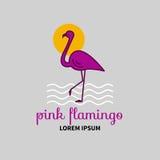 Flamingo do logotipo do vetor Imagens de Stock Royalty Free