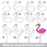 Flamingo. Drawing tutorial. Royalty Free Stock Images