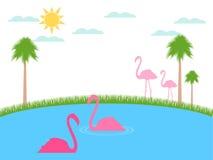 Flamingo floats. Landscape with flamingos, wildlife refuge. Vector Royalty Free Stock Photos
