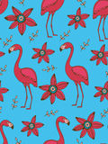 Flamingo and flowers colorful seamless pattern Stock Photos