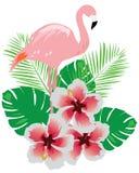 Flamingo with flowers Stock Photo