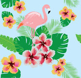 Flamingo with flowers Stock Photography