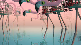 Flamingo in Fog. Surrealistic flamingos stand in fog. Around the water, a flamingo made of birdcages Royalty Free Illustration