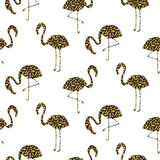 Flamingo gold glitter silhouette seamless vector texture. stock illustration