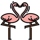 Flamingo heart LineColor illustration royalty free illustration