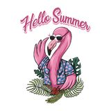 Flamingo hello summer vector illustration stock illustration