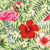 Flamingo, hibiscus and tropical leaves vector illustration
