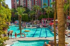 The Flamingo Hilton hotel & resort pool. In Las Vegas, Nevada royalty free stock photos