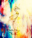 Flamingo illustration. original drawing on paper. computer collage and color structure. Royalty Free Stock Photos