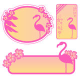Flamingo labels. Set of exotic lables with flamingos and tropical flowers Stock Photography