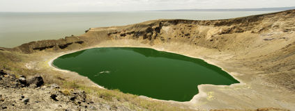 Flamingo lake. Panoramatic view of Flamingo lake on Central island,Lake Turkana, northern Kenya Stock Photos