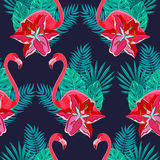 Flamingo lilies colorful seamless pattern. Flamingo birds and tropical hibiscus bright flowers tropical foliage colorful composition hawaiian seamless pattern Royalty Free Stock Photos