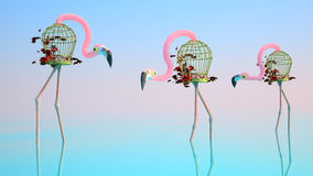 Flamingo Made of Birdcages. Surrealistic Flamingos Stand in Water. Around The Water, a Flamingo Made of Birdcages Royalty Free Illustration