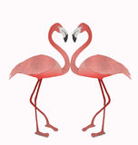 Flamingo make heart sigh from recycled paper isolated on white Royalty Free Stock Image