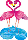 Flamingo making love. Vector illustration  Royalty Free Stock Photo