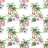 Flamingo met palmen en bloemen Stock Foto