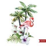 Flamingo met palmen en bloemen stock illustratie