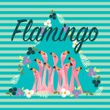 Flamingo met Tropische Bloemenachtergrond Stock Foto