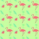 Flamingo naadloos exotisch patroon royalty-vrije illustratie