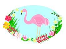 Flamingo och tropiska blommor stock illustrationer