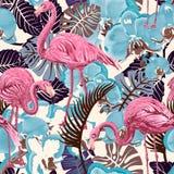 Flamingo op een kleurrijke achtergrond Naadloos patroon met flamingo's en tropische installaties Kleurrijk patroon voor textiel vector illustratie