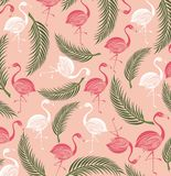Flamingo and palm background Royalty Free Stock Images