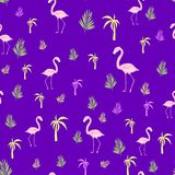 Flamingo palm seamless pattern royalty free illustration