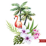 Flamingo with palms and flowers Stock Photo