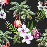 Flamingo with palms and flowers Royalty Free Stock Photos