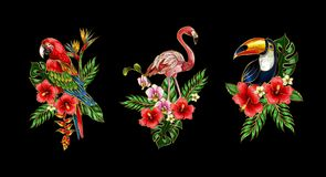 Flamingo, parrot, toucan embroidery patches with bouquet of tropical flowers. Flamingo, parrot, toucan embroidery patches with bouquet of flowers vector illustration