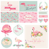 Flamingo Party Set. For Wedding, Bridal Shower, Party Decoration - in vector Royalty Free Stock Images