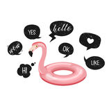 Flamingo. Pool float and funny speech bubbles with grunge texture - yes, wow, ok, hello, love, like.Vector. Flamingo swim ring. stock illustration