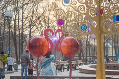 Flamingo on Pushkin Square, Moscow.  Royalty Free Stock Photo