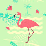 Flamingo seamless exotic pattern. Tropical floral and flamingo fresh background Stock Image