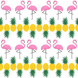 Flamingo seamless pattern with pineapples on white background. Summer vector background design for fabric and decor vector illustration