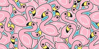 Free Flamingo Seamless Pattern Vector Pink Flamingos Exotic Bird Summer Tropical Cartoon Tile Background Repeat Wallpaper Scarf Isolate Royalty Free Stock Images - 144843829